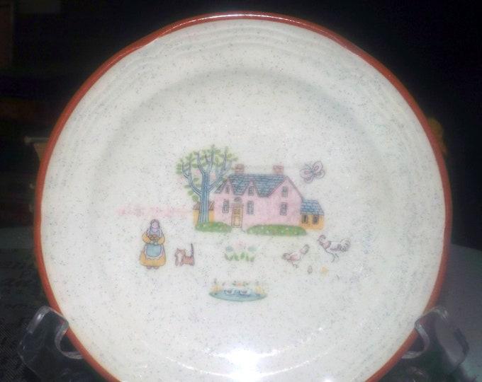Vintage Country House folk-art stoneware bread, dessert, side plate. Jamestown China | International Stoneware Japan. Farm scene.