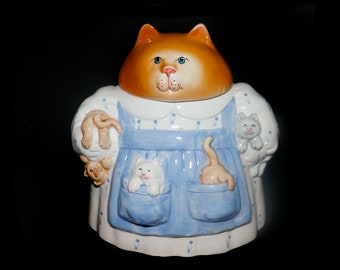 Vintage (1992) Mama Cat cookie jar made in Taiwan by Clay Art. Too cute kitchen storage and decor.
