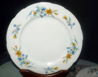 Vintage (1970s) Cmielow Poland large dinner plate | charger. Blue, yellow flowers, scalloped, gold edge.