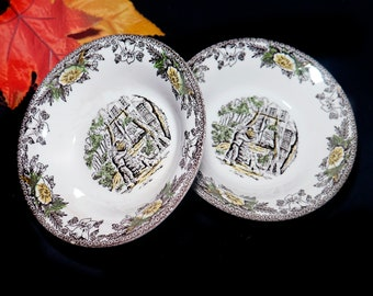 Pair of mid-century Royal China Fairoaks | Fair Oaks fruit nappies, dessert, sauce, berry bowls made in USA. Minor flaw (see below).