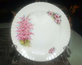 Vintage (1970s) Cambridge Pink Mist bread-and-butter, dessert, or side plate. Pink cherry blossoms, scalloped gold edge.