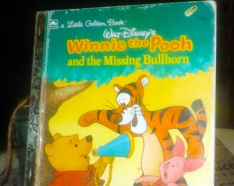 Vintage (1990) Little Golden Books Winnie the Pooh and the Missing Bullhorn hard cover children's book.