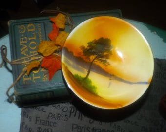 Early mid-century (1940s) Morimura | Noritake | Nippon hand-painted bowl.  Landscape scene with trees, water and sailboat.