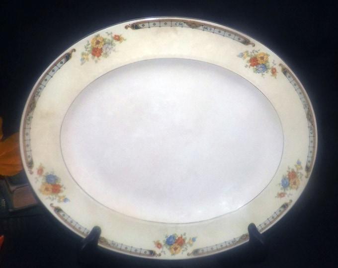 Vintage (1930s) Alfred Meakin Celia oval art deco vegetable serving platter made in England.