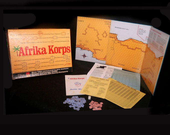 Vintage (1975) Afrika Korps WWII military war combat board game. Rommel in North Africa. Avalon Hill. Made in USA.