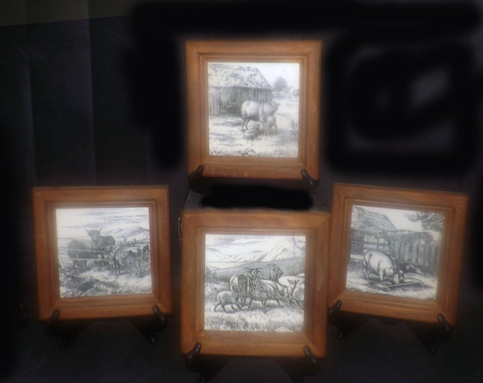Set of four antique Victorian-era (late 1800s) Mintons framed William Wise tiles. Farm Animals series. Solid wood frames.