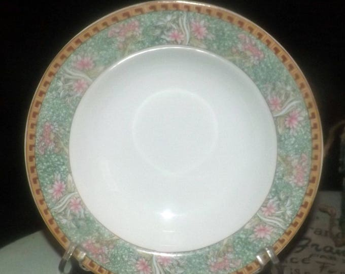 Set of four vintage (1980s) Grindley by Kopin rimmed soup bowls. Pink lotus florals. Made in Indonesia.