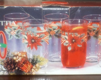 Boxed set of 10 vintage (1980s) Ancam Poinsettia etched-glass Christmas tumblers. Etched red poinsettias, green holly, red berries.