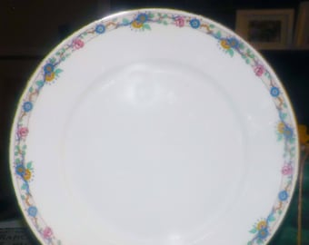 Almost antique (1920s) Charles Ahrenfeldt Limoges hand-painted dinner plate. Art-nouveau band of blue, pink, yellow florals and branches.