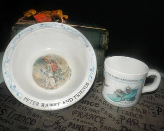 Vintage (1980s) melamine Peter Rabbit and Friends child's cup and bowl made by Eden.