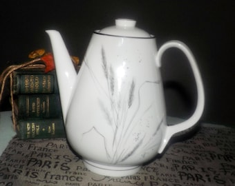 Mid-century (1950s) Easterling Germany Ceres | Kora | Ceralia pattern coffee pot with lid. Grey wheat sheaves, platinum edge.