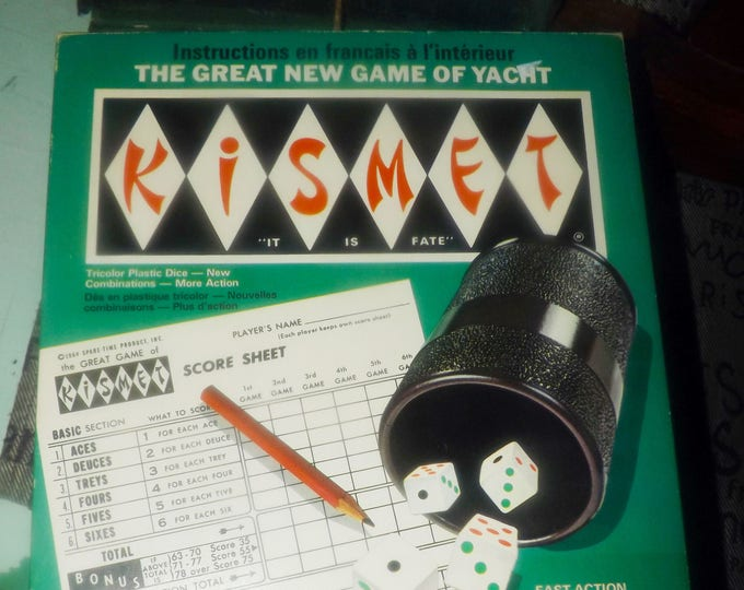 Vintage (1964) Kismet dice | yacht game published in Canada by Irwin Toys | Leisure Dynamics | Lakeside. Complete.