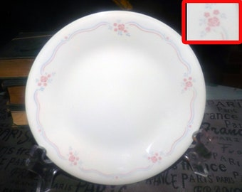 Vintage (mid 1990s) Corelle | Corning USA English Breakfast bread-and-butter, dessert, or side plate. Pink florals, wavy blue pink lines.