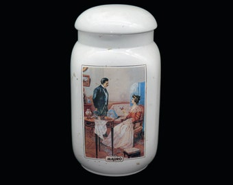 Vintage (1980s) Caffe Mauro ceramic Coffee Canister with vacuum-sealed lid made in Italy. Ceylindo Tea Co ad. Flaws (see below).