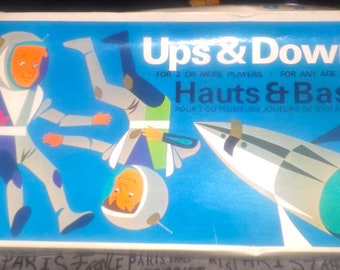 Vintage (1960s) Ups and Downs (aka Hauts & Bas) board game made in Canada by Copp Clark Games. Complete.