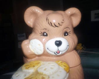 Vintage (1970s) teddy bear cookie jar. Made in Taiwan and attributed to Giftcraft.