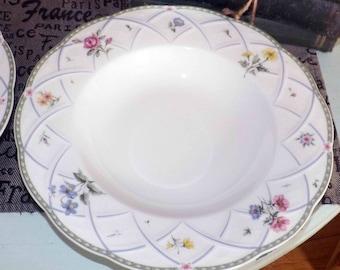 Vintage (1997) Mikasa Spring Prose A8010 rimmed soup or salad bowls. Pink, purple flowers, green lattice band, purple swirls.