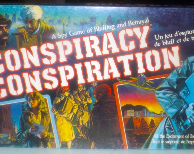 Vintage (1983) Conspiracy board game published by Milton Bradley. Canadian issue (all text in English and French). Complete.