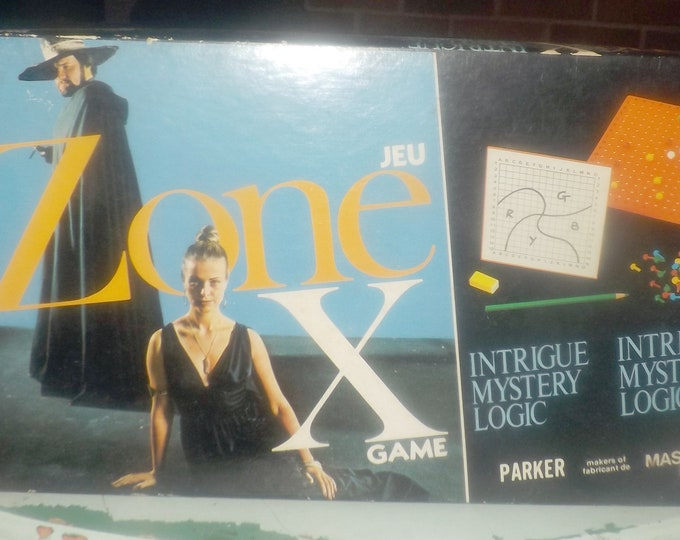 Vintage (1975) Zone X board game published by Parker Brothers. Mastermind-like game of logic, code- and zone-breaking. Made in USA. Complete