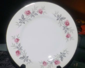 Mid-century (1950s) Myott England MYO33 bread-and-butter, dessert, or side plate.  Pink roses, gray leaves, gold edge.
