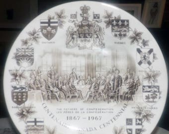 Vintage (1967) Wood & Sons Canadian Centennial commemorative brown transferware plate.  Alpine White ironstone. Fathers of Confederation.