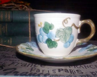 Vintage (1960s) Metlox Sculptured Grape tea set (cup and saucer). Metlox Poppytrail Vernon. Hand-painted grapes, leaves. California made.