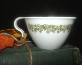Vintage (1970s) Corelle Corning Spring Blossom hangable cup only (no saucer). Green florals on white ground.
