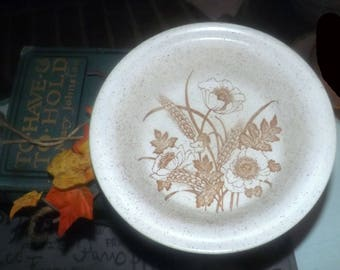 Vintage (c. late 1970s - 1980s) Barratts of Staffordshire | Doverstone cereal bowl. Brown flowers, wheat sheaves, cream speckled ground.