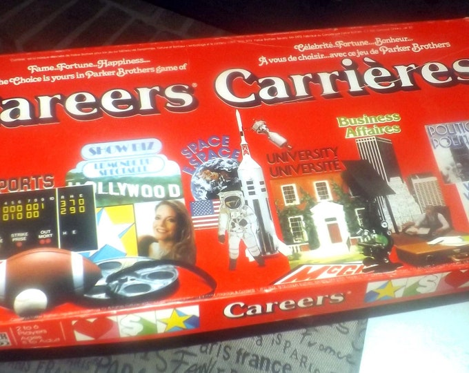 Vintage (1979) Careers board game published by Parker Brothers as game A620. Canadian bilingual edition.  Almost complete (see below).