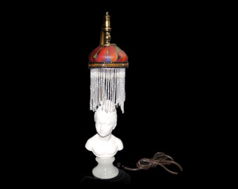 Mid century signed Borghese Josephine bust boudoir table lamp with beaded, hand-painted Murano glass shade. Signed G. Besst.