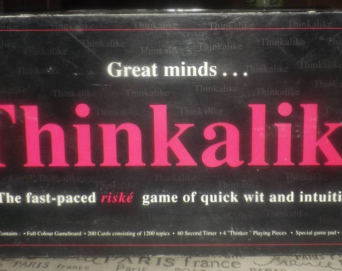 Vintage (1980s) first-issue Thinkalike adult board game published in Canada by Playtoy Industries.  Incomplete (see below).