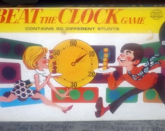 Vintage (1969) Beat the Clock board game published by Milton Bradley as game R4982 based on TV game show of the same name. Complete.