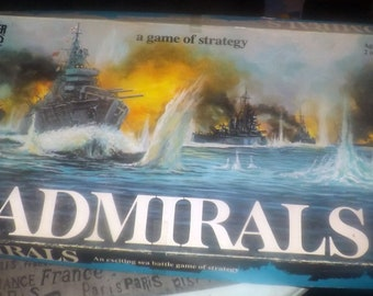 Vintage (1972) Admirals board game by Parker Brothers. Made in USA. Incomplete (see details below).
