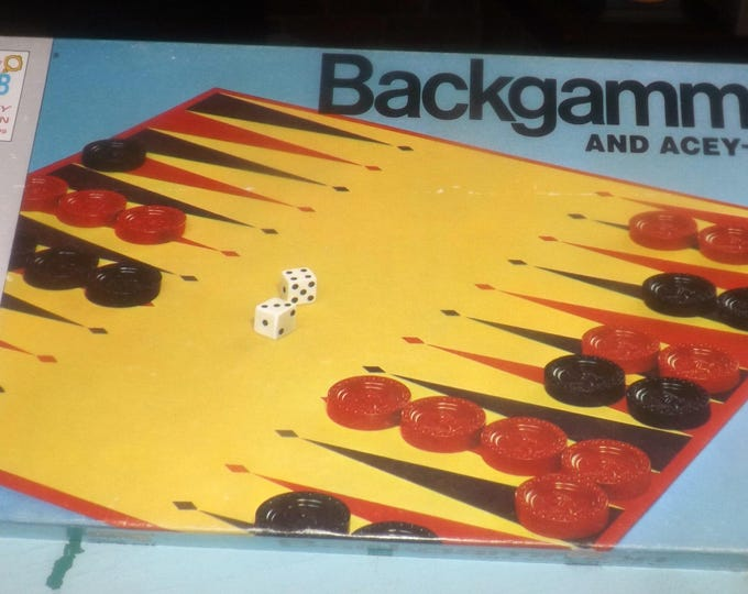 Vintage (1973) Milton Bradley Backgammon | Acey Deucey board game set No. 4319. Complete with bonus. Made in USA.