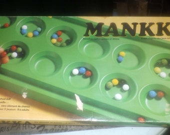 Vintage (1975) Mankka | Mankala | Kalah board game made in Canada and published by Copp Clark.  Complete.
