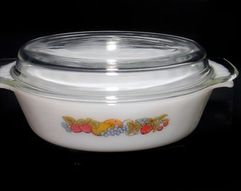 Retro vintage (1970s) Fire King Anchor Hocking Nature's Bounty 1.5 quart covered casserole. Mixed fruits on white glass. Made in the USA.