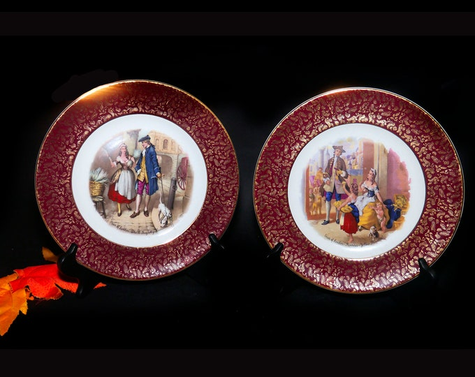 Pair of early mid-century Wood & Sons Cries of London decorative cabinet wall display plates. Lavender Seller, Primroses seller. Maroon rim.