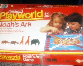 Vintage (1984) Noah's Ark board game published by Waddingtons Playworld. Complete. Wooden pieces.