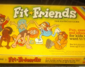 Vintage (1984) and very scarce The Fit Friends kid's exercise board game published by Waddingtons. Incomplete (see details below)