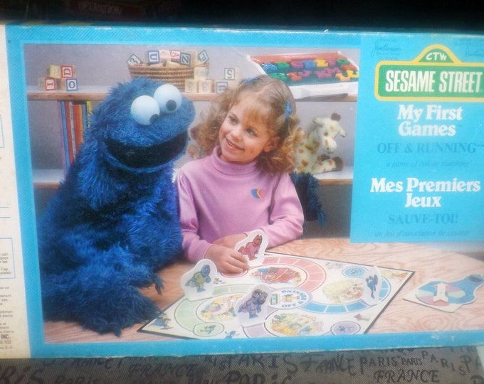Vintage (1986) Sesame Street Off and Running Cookie Monster board game. Milton Bradley My First Games series. Complete.