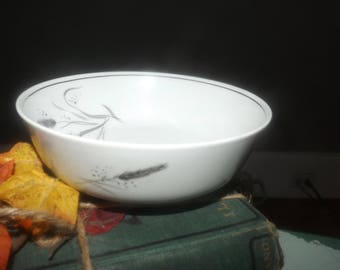 Mid-century (1950s) Easterling Germany Ceres | Kora | Ceralia cereal, soup or salad bowl. Grey wheat sheaves, platinum edge.