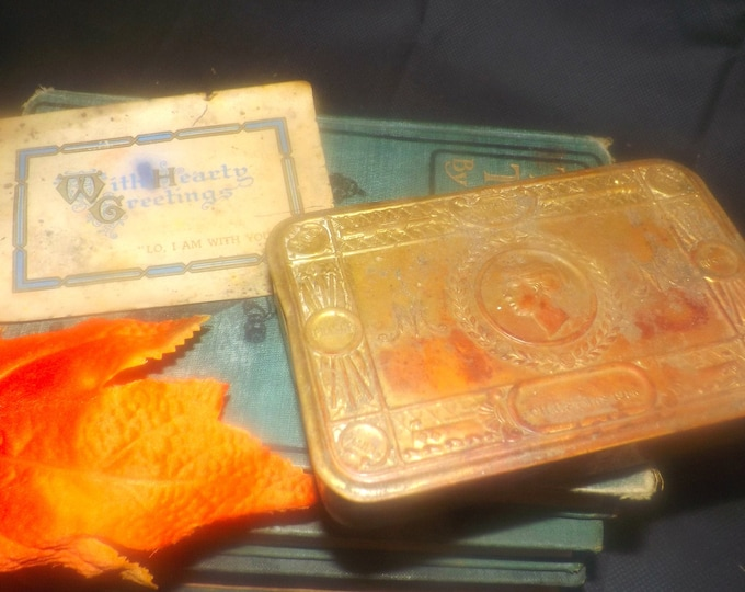 Antique 1914 WWI Princess Mary Christmas Gift Box, medals, original Christmas Hearty Greetings card.