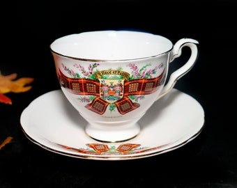 Vintage (1960s) Royal Standard Bonnie Scotland Clan Cameron tea set made in England. Clan Cameron Tartan and Motto.