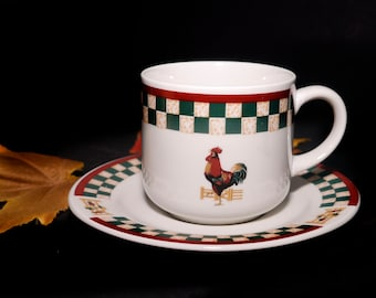 Vintage (1980s) Country Inn stoneware cup and saucer set made for Betty Crocker by Citation. Checkerboard and rooster. Sold individually.