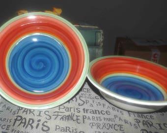 Pair of vintage Royal Norfolk Mambo rimmed cereal, soup, salad bowls. Multicolor stripes, blue center.