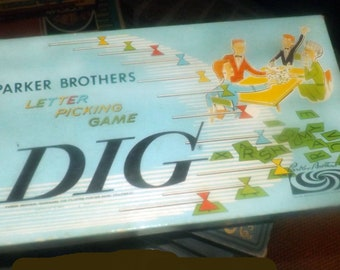 Late mid-century (1959) Dig word picking board game published by Parker Brothers as game No. 55.  Complete.