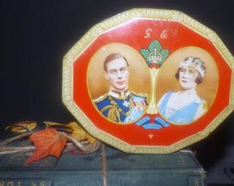 Vintage (1939) Blue Bird Assorted Toffees | Harry Vincent England commemorative tin. HRH King George VI and Queen Elizabeth NA visit.