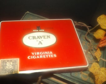 Vintage (1970s) Craven A cork-tipped Virginia cigarettes tin with hinged lid. Original excise labels.