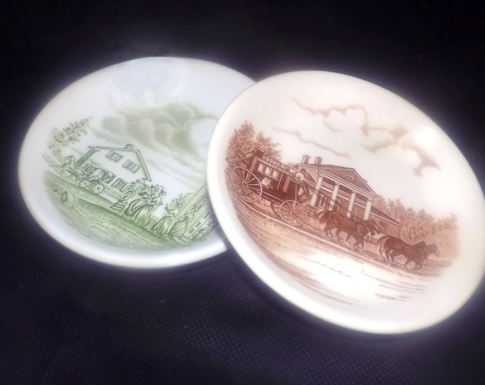 Pair of vintage Wood & Sons Upper Canada Village souvenir pin | trinket dishes | coasters. Green brown transferware made in England.