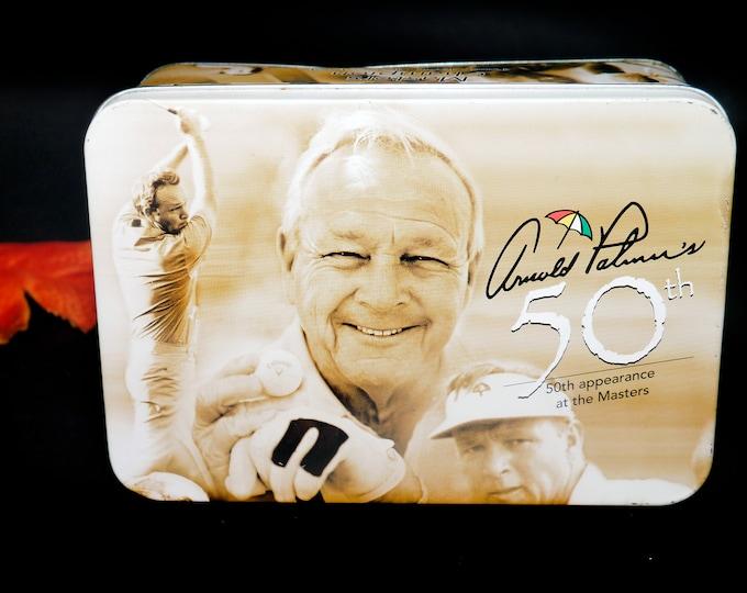 Callaway Golf Arnold Palmer 50th Anniversary at the Masters collectible tin. Originally held golf balls. Great man gift | golf lover gift.